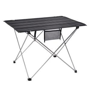 KESOTO BBQ キャンプ ピクニック 折りたたみテーブル ロールテーブル 収納バッグ付き 2層キャンバス布+アルミ合金 - 銀|stk-shop