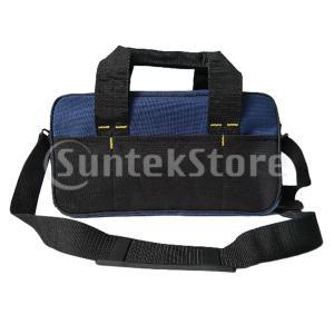 ツールバッグ 道具袋  工具収納 ワイド口 電気技師 乾式壁作業者向け ブラック+ブルー
