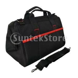 ツールバッグ 道具袋 ワイドオープン 大容量 運搬用 耐久性 ブラック