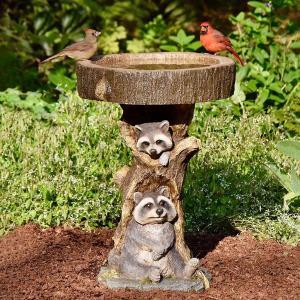 樹脂動物置物ガーデンステークス芝生の装飾バードバス耐久性のある彫刻アライグマ|stk-shop
