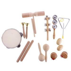 打楽器セット おもちゃ 知育玩具 ハンドタンバリン カスタネット ハンドベル 木製 赤ちゃん 乳幼児 子供用 プレゼント
