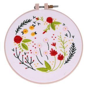 説明:初心者のための現代手刺繍キット刺繍サンプラーキットハンディ木製クロスステッチマシン刺繍フープリ...
