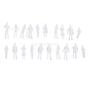 説明:  20Pcs 1/100 HOスケール無塗装モデル人物ミニチュアフィギュア建築モデル人間のプ...