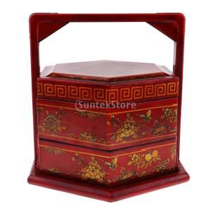 説明: 中国のレトロアンティーク木製円形形状のランチボックスハンドバッグ花と鳥のパターンでは、全体の...