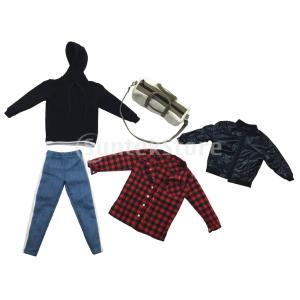 説明: 5ピース1/6スケール人形服スーツ黒パーカー、黒のシックなジャケット、赤い格子縞のシャツ、キ...