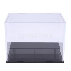 説明:  DIY未組み立て2層クリアアクリル製ディスプレイボックスショーケース、カーモデル、アクショ...