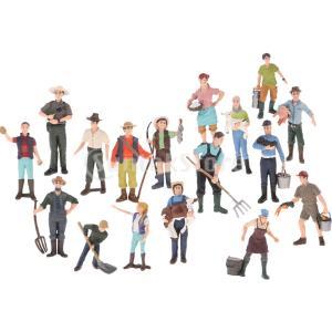 説明:さまざまなポーズで17個の農民のアクションフィギュア小さな置物ラングラー、シェパード、インスト...