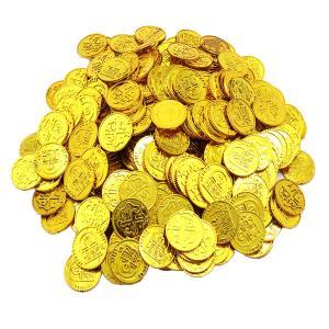 100個のプラスチック海賊宝コイン戦利品パーティーフィラーキッズおもちゃゴールデン stk-shop