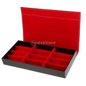 Fenteer 眼鏡 メガネケース 収納ボックス コレクション ケース 展示 ジュエリー 小物入れ PUレザー 12コンパートメント 全2色選べ - レッド