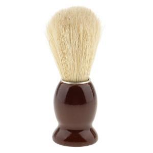 ひげそり用ブラシ 木製ハンドル シェービングブラシ 家庭 プロ 全4色 ランダム  - 褐色|stk-shop