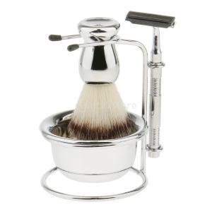洗顔 髭剃り メンズ シェーバー シェービング用 ブラシ ストレート カミソリ ボウル スタンド キット|stk-shop