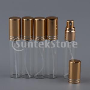 5個10ml空の詰め替え式ガラス香水スプレーボトルバイアルゴールデン