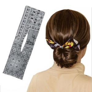 おだんごメーカー ヘアバンド 巧みなお団子ファッション女性夏の結び目ワイヤーヘッドバンドプリントG stk-shop