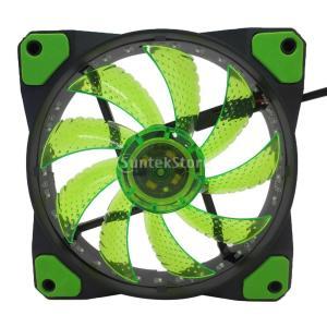 Lovoski  12V DC PCケース ヒートシンク 冷却ファン CPUクーラー 32LEDライト 油圧設計 静音 全3色 - 緑