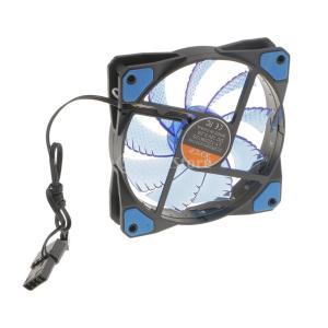 Lovoski  DC 12V 3-4ピン 15 LEDライト 120mm PC コンピュータケース CPUファン 静音 冷却 - 青