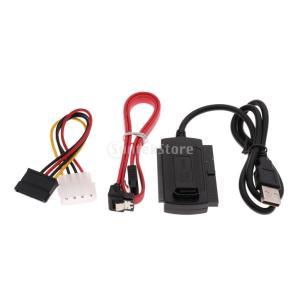 Fenteer USB 2.0/3.5インチ SATA IDEハードドライブアダプター 変換ケーブル&電源コードセット|stk-shop