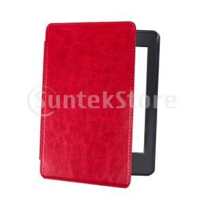 Kindle Paperwhite 4 2018用スマートスリープアウェイクフリップカバーケースレッ...