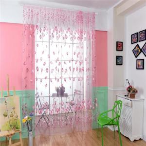 Dovewill  4色選べる 薄手 チューリップ チュール 窓 シアーカーテン 半透明 ドレープ 100x200cm - ピンク