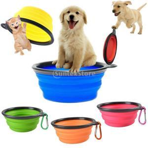 ペット 犬 ポータブル シリコン製 折りたたみ 旅行 餌 ボウル 水皿 フィーダー 全6色 - 青