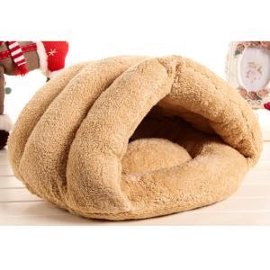 Perfk 2色選べる 暖かい ペット ハウス 犬 猫 ベッドクッション マットパッド 洞窟 寝袋 贈り物 - ベージュ stk-shop
