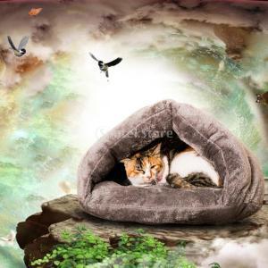 2色選べる 暖かい ペット ハウス 犬 猫 ベッドクッション マットパッド 洞窟 寝袋 贈り物 - グレー