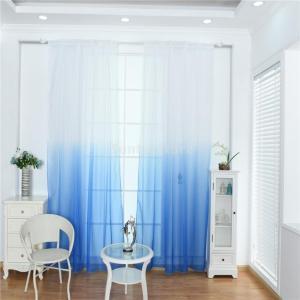 Fenteer 柔らかい 窓チュール グラデーション ルーム シアーカーテン パネル 快適 100 * 200cm 全9色選べる - 青|stk-shop