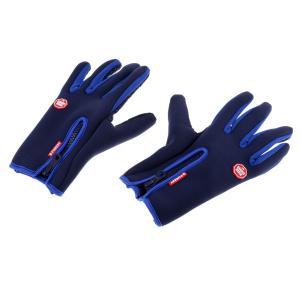 SunniMix ユニセックス   手袋 オートバイ タッチスクリーン グローブ 冬 暖かい  全4サイズ6色 - ブルー, S