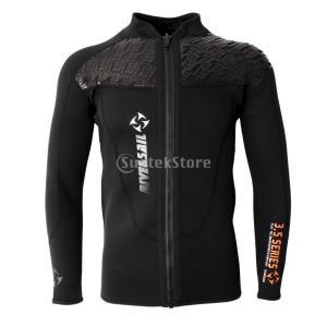 メンズ 3mmネオプレン 長袖 ジャケット フロントジッパー ウェットスーツ ダイビング サーフィン シュノーケリング用 トップ 全6サイズ - XL stk-shop