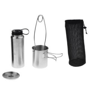 説明:超軽量バックパック用多目的キャンプ用カップとウォーターボトル折りたたみ可能な手のハンドルは、う...