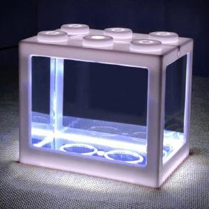 ミニ水槽LEDライトクリアオーナメント水族館オフィスデスクトップ装飾白 stk-shop