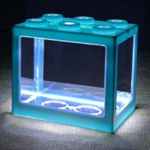 ミニ水槽LEDライトクリアオーナメント水族館オフィスデスクトップ装飾青 stk-shop