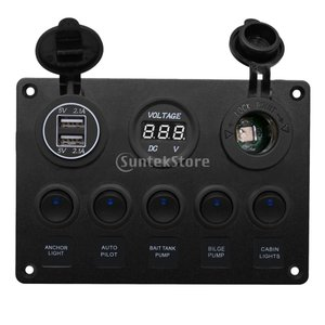 車/ヨット/マリン/ボートなどに適用 LEDスイッチコントロールパネル 耐水性 5連 取り付け簡単 品質保証