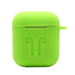 Fenteer Apple AirPods用 メタルキーホルダー付き シリコン 保護カバーケース 小型 薄型 全12色 - 緑2|stk-shop