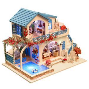Baoblaze DIY組立おもちゃ アパートモデル ミニチュア ドールハウス模型 玩具 LEDライト カバー付き stk-shop