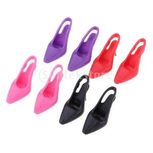 説明: ファッションdollhuseプラスチック黒ハイヒールの靴のフィギュアの人形ベッドルームアクセ...