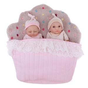 説明:この26cmの実生活の生まれ変わった赤ちゃん双子人形は、安全で環境に優しいビニル/シリコーンで...