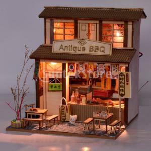 木製 1/24スケール ドールハウス家具 ミニチュア 店 ショップ 食べ物模型 人形館 全5色 - バーベキュー屋