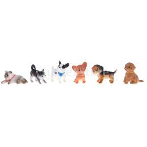 説明:  6個1/12ドールハウスミニチュア子犬ペット犬猫動物フィギュア工芸子供のおもちゃ家の装飾動...