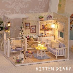ドールハウスキット木製手作り初心者家具モデルキッズギフト付き1/24 DIYミニチュア-子猫日記