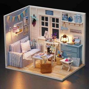 1/24 DIYミニチュアドールハウスキットw /家具モデルフレッシュサンシャインキッズギフト