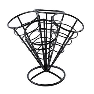 全2色選べる French Fryスタンド フライドポテトホルダー コーンバスケットホルダー 高品質 - ブラック|stk-shop