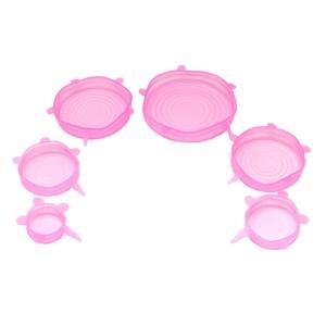 全4色 シリコン ラップ シール ボウル 食品 保存 ストレージ 伸縮式 蓋 カバー - ピンク