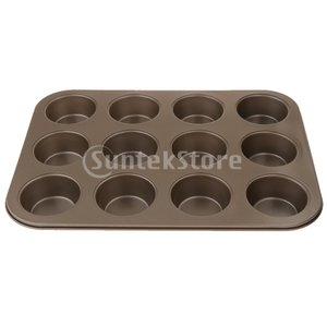 焦げ付き防止のマフィンの上鍋のカップケーキのクッキー型耐熱皿12の穴大きい金 stk-shop