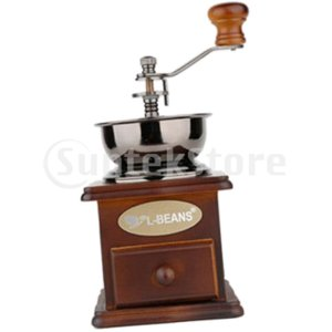 説明: 粉砕の設定及び引出しが付いている手動コーヒー挽き器の手動クランクのコーヒー製造所コーヒー豆の...