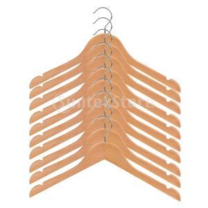 説明:木製の子供たちの衣服ハンガー10個のパック滑らかな磨かれた木製の金属のコートハンガー子供のコー...