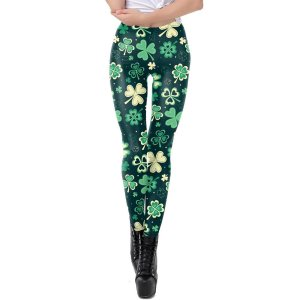 伸縮性のある柔らかい女性のレギンスシャムロックプリントコンプレッションパンツシャムロックL|stk-shop