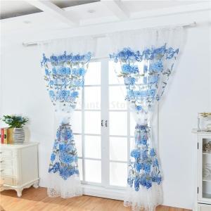 レースカーテンUVカット半遮光断熱ロングカーテン美しい花柄 目隠 シェードカーテン紗 全6色2サイズ - ブルー, 100x200cm