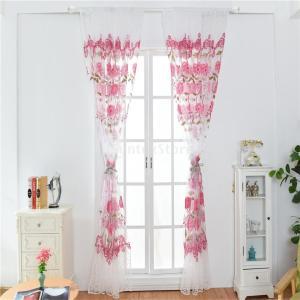 レースカーテンUVカット半遮光断熱ロングカーテン美しい花柄 目隠 シェードカーテン紗 全6色2サイズ - レッド, 100x200cm