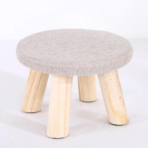 KESOTO 円形 スツールカバー 座布団カバー 丸椅子カバー リネン製 ラウンド 弾性あり 全7色  - クリーム
