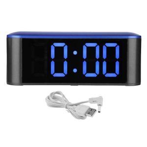 全6色 目覚まし時計 鏡面 温度計 タッチスクリーン デジタルLED 明るさ3階段 アラーム ナイトモード  - ブルー+ブルー|stk-shop
